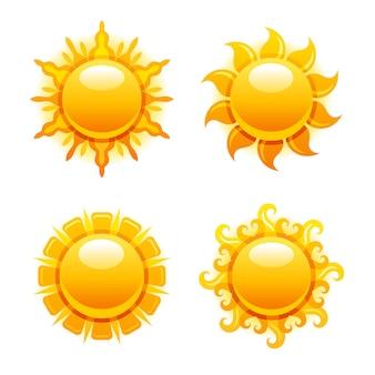 Icone del sole. illustrazione del sole estivo. grafico di alba con il simbolo giallo del tempo di calore. set di forme solari a luce calda. progettazione di giorno, mattina, tramonto