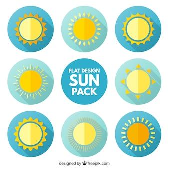 Icone del sole pacchetto in design piatto
