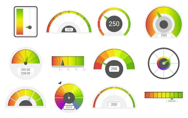 Icone del tachimetro. indicatori del punteggio di credito. misuratore del calibro delle merci del tachimetro. indicatore di livello, insieme di vettore di manometri di punteggio di prestito di credito