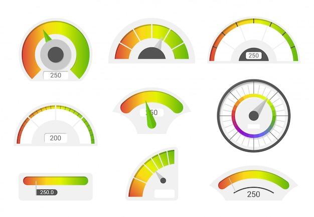 Icone del tachimetro. indicatori del punteggio di credito. misuratore del calibro delle merci del tachimetro.