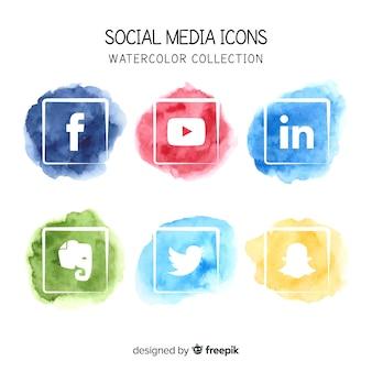 Icone dell'acquerello di media sociali