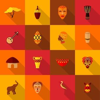 Icone dell'africa messe piatte