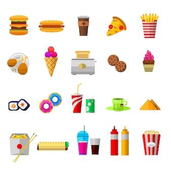 Icone dell'alimento di vettore, elementi dolci degli alimenti a rapida preparazione