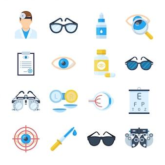 Icone dell'attrezzatura dell'oftalmologo in uno stile piano