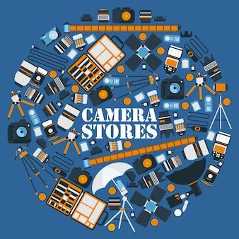Icone dell'attrezzatura di fotografia in composizione rotonda nella struttura