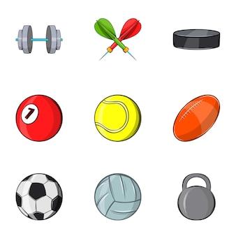 Icone dell'attrezzatura sportiva messe, stile del fumetto