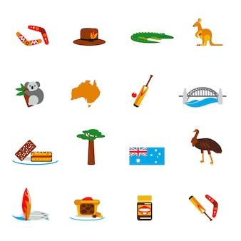 Icone dell'australia impostate piatte