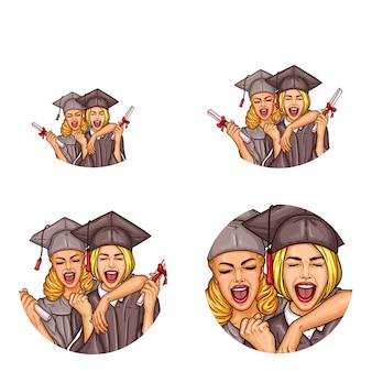 Icone dell'avatar di pop art del partito di graduazione delle ragazze di vettore