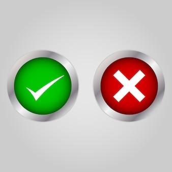 Icone dell'elenco della casella di controllo messe, verde e rosso isolati su bianco