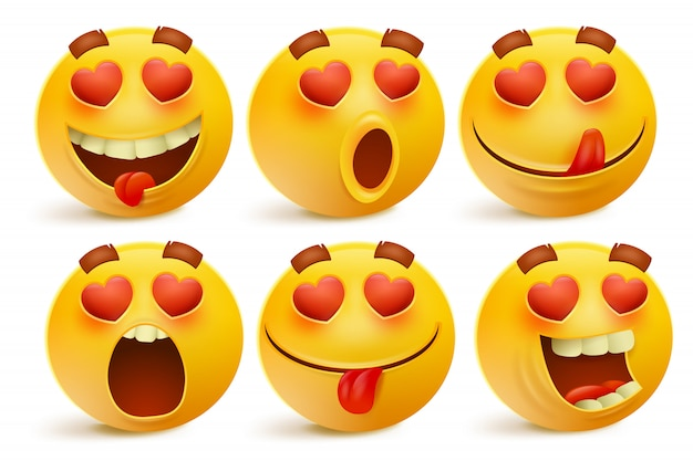 Icone dell'emoticon di giorno di biglietti di s. valentino, insieme di emoji di amore, isolato su fondo bianco