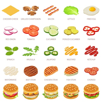 Icone dell'ingrediente dell'hamburger messe. un'illustrazione isometrica di 25 icone di vettore dell'alimento dell'ingrediente dell'hamburger per il web
