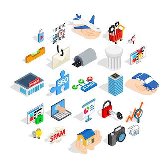 Icone dell'interfaccia web impostate, stile isometrico