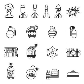 Icone della bomba messe su fondo bianco. linea stock vettoriale.