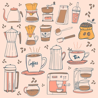 Icone della caffetteria doodle. disegni di caffè e tè per il menu del caffè