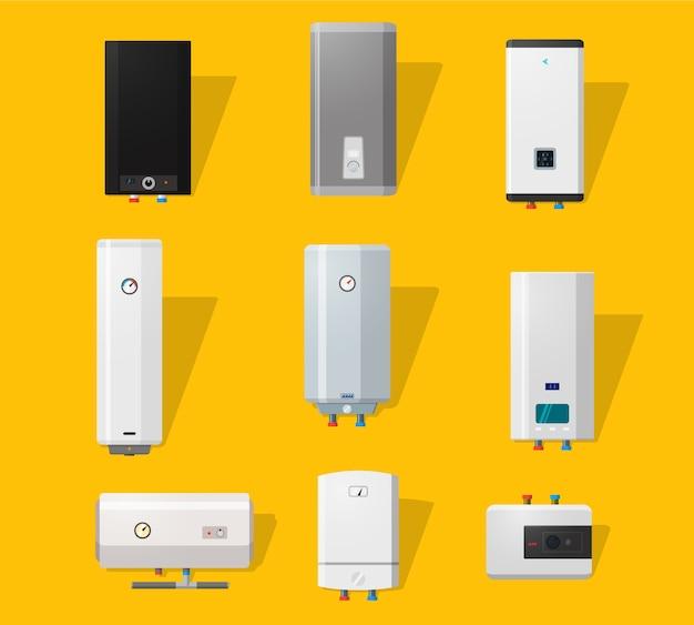 Icone della caldaia impostate in stile piatto dettagliato. caldaie moderne e classiche, slim e di design. concetto di casa efficiente.