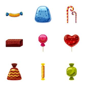 Icone della caramella di cioccolato messe, stile del fumetto
