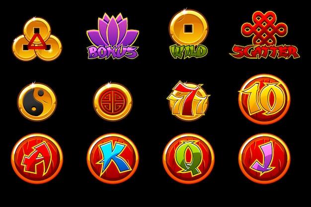 Icone della cina per il gioco di slot machine di casinò con simboli cinesi. icone di slot su livelli separati.