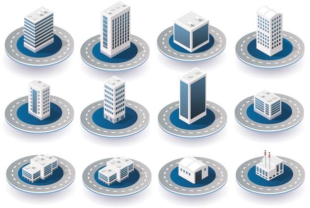 Icone della città isometrica 3d