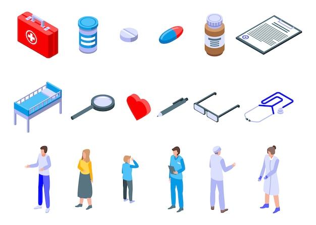 Icone della clinica di salute della famiglia messe, stile isometrico