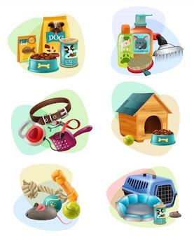 Icone della composizione di concetto di cura dell'animale domestico messe