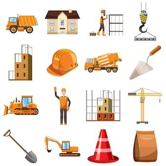 Icone della costruzione impostate, stile del fumetto