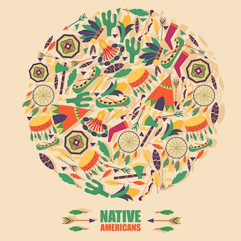Icone della cultura dei nativi americani nella composizione cornice rotonda,