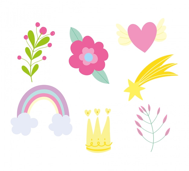 Icone della decorazione del fogliame del cuore della stella della corona del fiore dell'arcobaleno messe