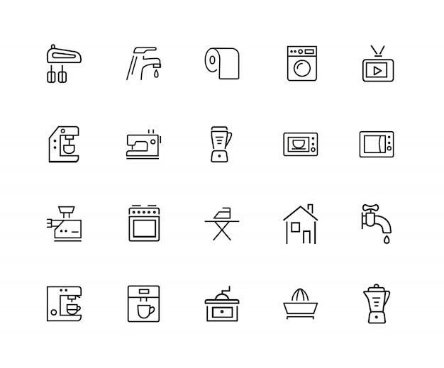 Icone della famiglia. set di venti icone di linea. lavatrice, televisore, macchina da cucire