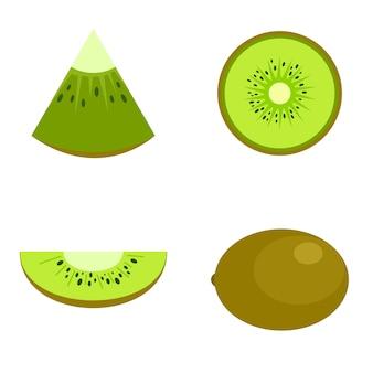 Icone della fetta dell'alimento del kiwi messe