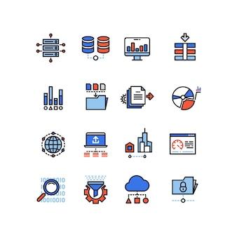 Icone della linea di analisi di grandi quantità di dati di tecnologia di computazione della nuvola di sicurezza di web