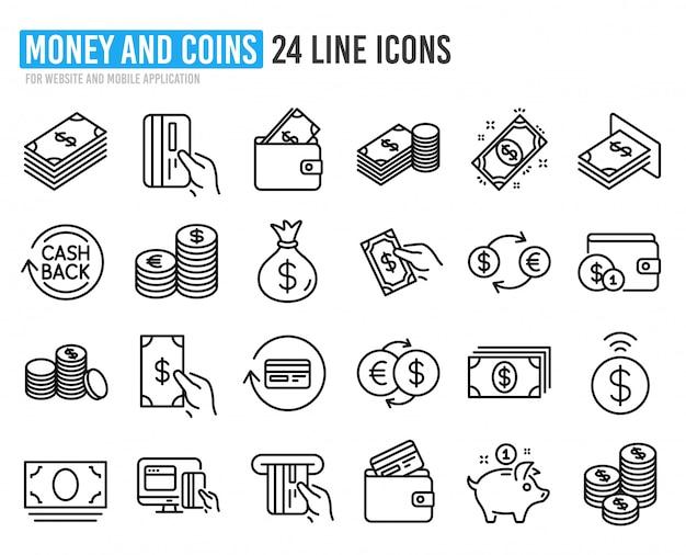 Icone della linea di denaro. banca, portafoglio e monete.