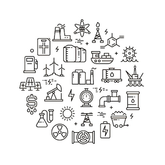Icone della linea di energia, potenza e carburante