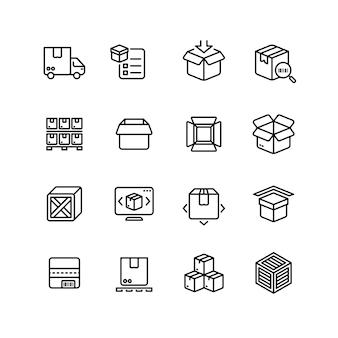 Icone della linea di imballaggio del prodotto. simboli di vettore di contorno di stoccaggio scatola