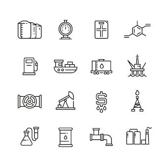 Icone della linea di produzione di petrolio e gas e attrezzature industriali