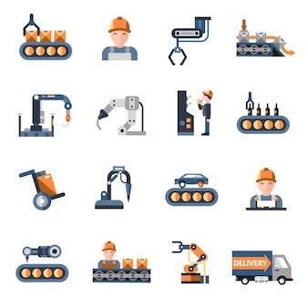 Icone della linea di produzione