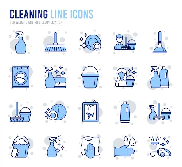 Icone della linea di pulizia. lavanderia, spugna e aspirapolvere.