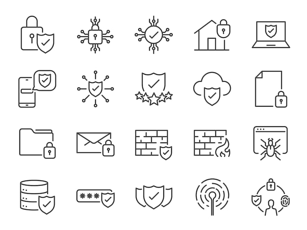 Icone della linea di sicurezza.