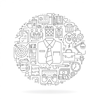 Icone della linea di ufficio nella forma rotonda isolate