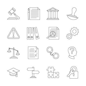 Icone della linea legale di conformità e regolamentazione