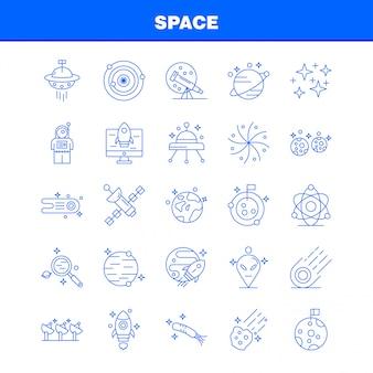 Icone della linea spaziale impostate per infografica, kit ux / ui mobile