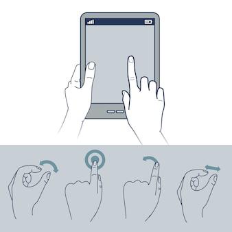 Icone della mano di vettore - illustrazione dell'interfaccia dello schermo attivabile al tatto
