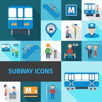 Icone della metropolitana piatte