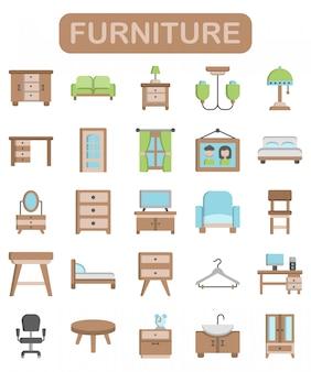 Icone della mobilia messe nello stile piano