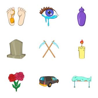Icone della morte impostate, stile cartoon