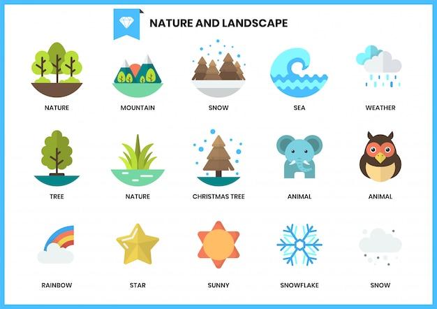 Icone della natura messe per affari
