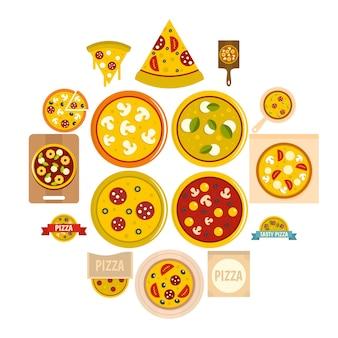 Icone della pizza messe nello stile piano