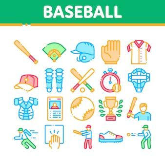 Icone della raccolta degli strumenti del gioco di baseball messe