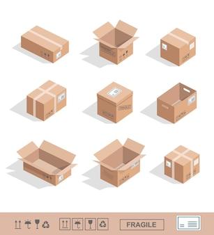 Icone della raccolta delle scatole di cartone di consegna aperte, chiuse, sigillate