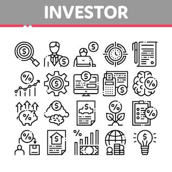 Icone della raccolta finanziaria dell'investitore messe