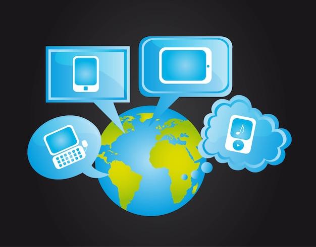 Icone della rete sociale sopra le bolle di pensiero e vettore di terra
